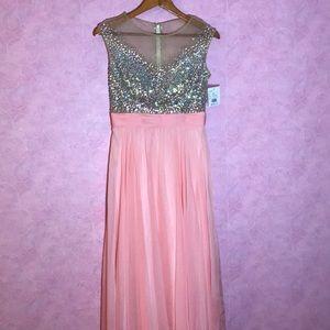 Pink Embellished David's Bridal Prom Dress